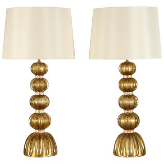 20th Century Italian Murano Glass Lamps-a Pair For Sale