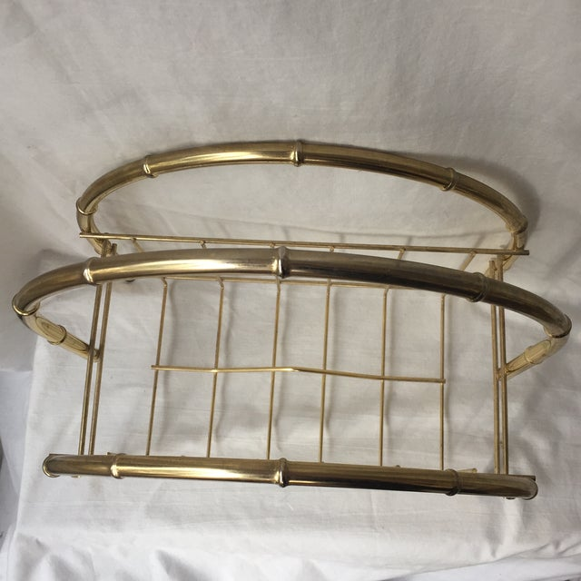 Hollywood Regency Brass Arch Magazine Rack For Sale - Image 4 of 4