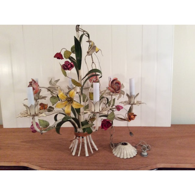 1950s French Multi Colored Flower Toleware 6 Light Chandelier For Sale - Image 10 of 10