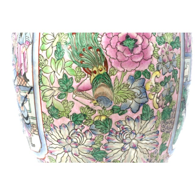 Ceramic Vintage Hand-Painted Chinese Family Temple Jar For Sale - Image 7 of 12