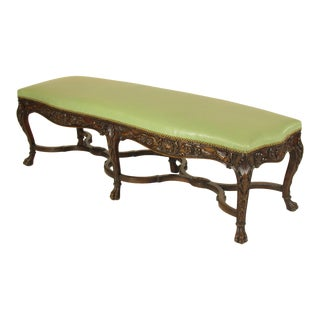 19th Century Italian Rococo Walnut Bench For Sale