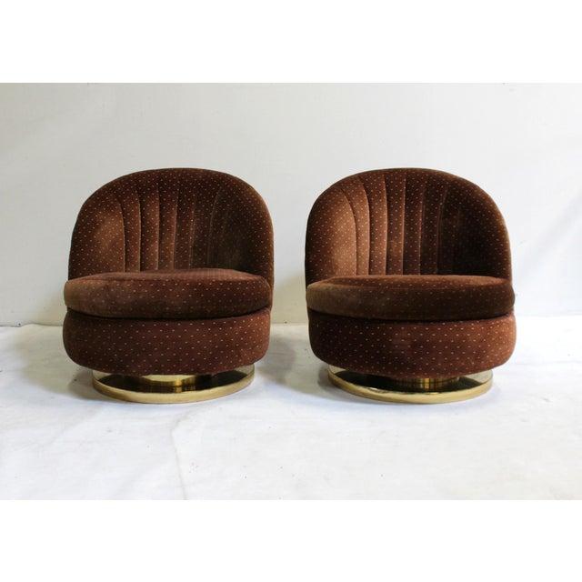 Milo Baughman Brass Chrome Base Swivel Lounge Chairs - a Pair - Image 2 of 7