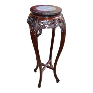 Rosewood Ornate Carved High Pedestal Table With Marble Top For Sale