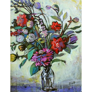 Large Original Acrylic Painting Red White Flowers by Natalia Bessonova For Sale