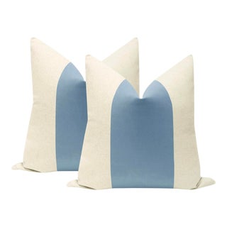 "22"" Cornflower Blue Velvet Panel & Linen Pillow Cover For Sale"