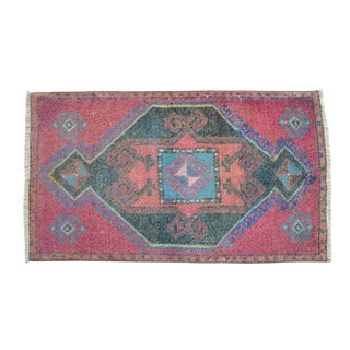 Distressed Low Pile Turkish Yastik Petite Rug Hand Knotted Faded Mat - 22'' X 40'' For Sale
