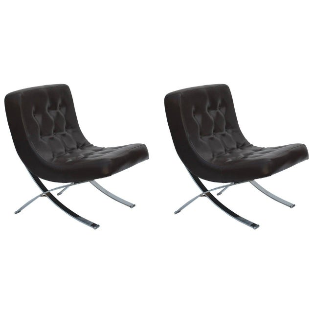 Metal Pair of Chromed Italian 1970s Slipper Chairs For Sale - Image 7 of 7