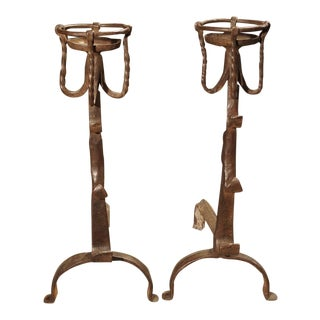 A Pair of Forged 17th Century Kitchen Fireplace Andirons from France For Sale