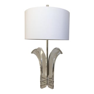 Oversize Lucite Palm Lamp & Shade by Astrolite For Sale