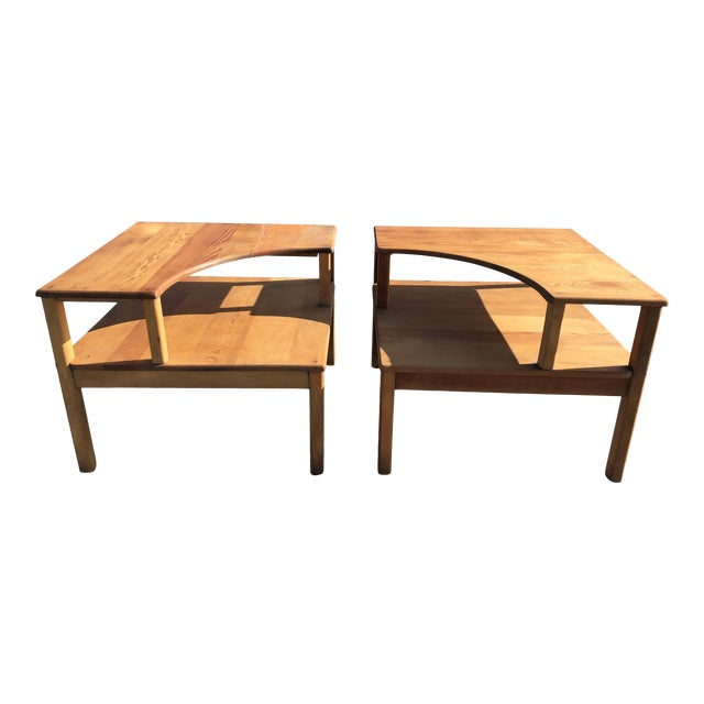 Large Pine Square Two Tier Side Tables - a Pair For Sale
