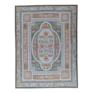 "Pasargad Aubusson Hand-Woven Wool Rug- 6' 0"" X 8' 3"" For Sale"