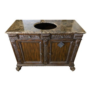 English Traditional Maitland-Smith Mahogany Vanity With Emperador Marble Top For Sale