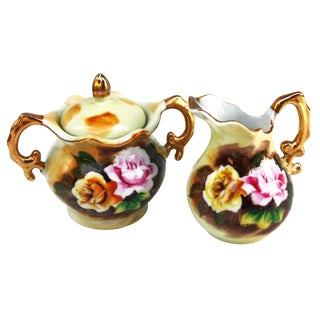 Floral Sugar & Creamer W/ Gold & Pink For Sale