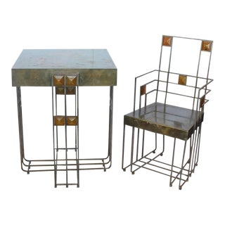 Josef Hoffman Style Bauhaus Brass Table & Chair - A Pair For Sale