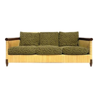 John Hutton for Donghia Mahogany and Wrapped Woven Wicker Sofa For Sale