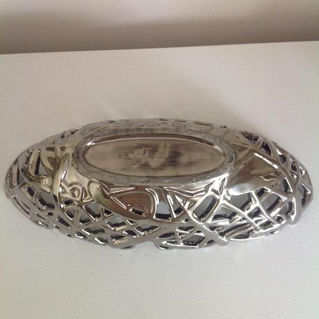 Metallic Chrome Glazed Ceramic Vase & Decorative Bowl - A Pair For Sale - Image 6 of 9