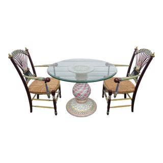 Mackenzie Childs Round Glass Top Porcelain Base Dining Table and Two Chairs For Sale