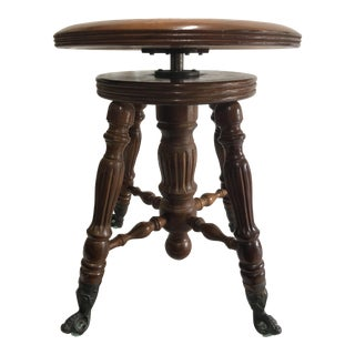 Late 19th Century Victorian Claw Foot Piano Stool