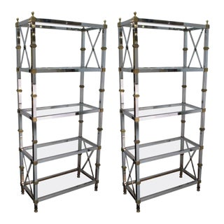 1950s French Maison Jansen Directoire Chrome and Brass Etageres - a Pair