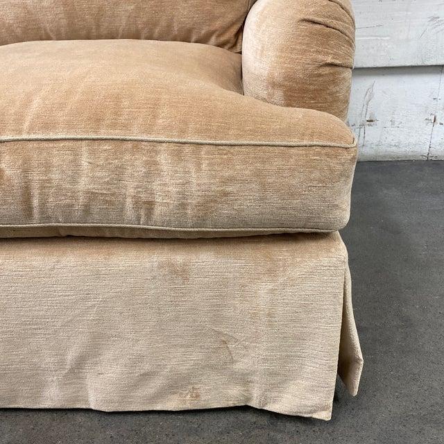 Belmar Custom Upholstery Rolled Arm Cream Velvet Sofa For Sale - Image 10 of 13