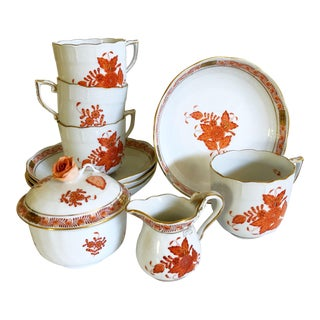 Herend Rust Chinese Bouquet Coffee Set For Sale
