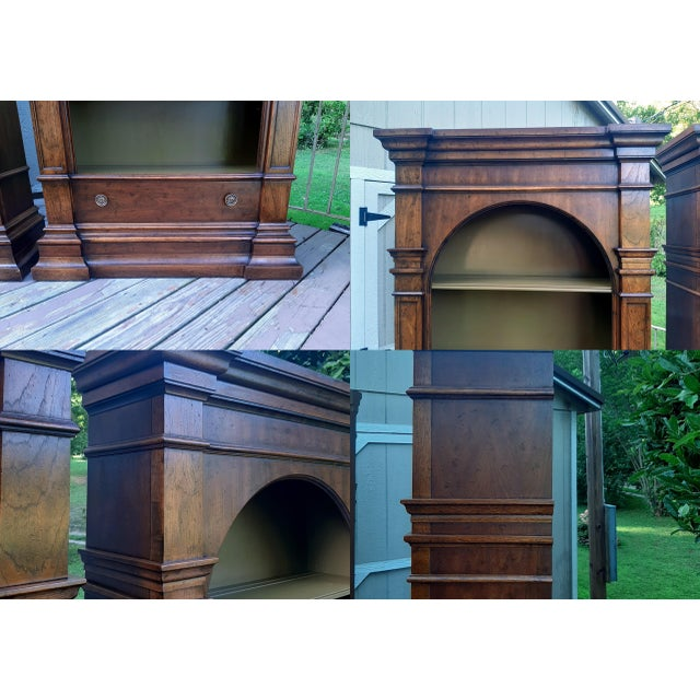 Vintage Drexel 1968 Et Cetera French Style Aged Walnut Solid Wood Bookcases - a Pair For Sale - Image 9 of 13