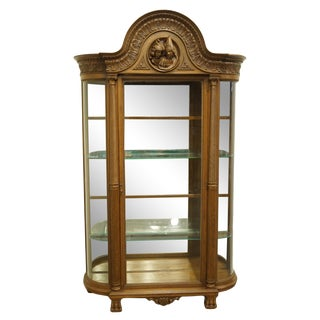 1920's Antique Vintage Jacobean English Revival China Cabinet For Sale
