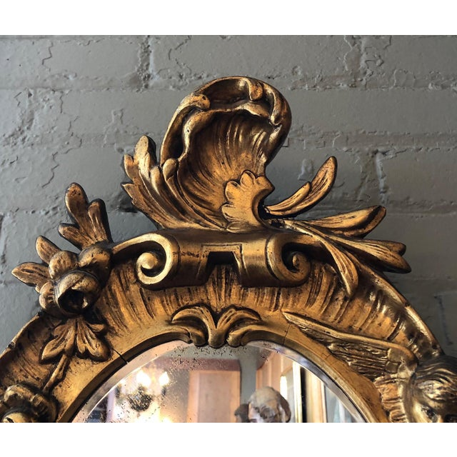 Turn of the Century Italian Baroque Style Girandole 3 Light Wall Mirror For Sale - Image 4 of 10