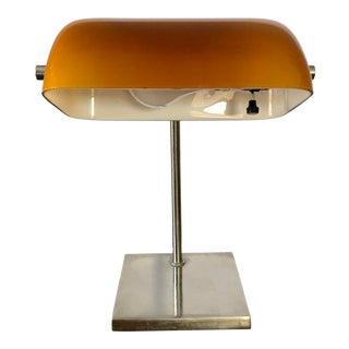 Mid Century Laurel Chrome Amber Desk Lamp For Sale