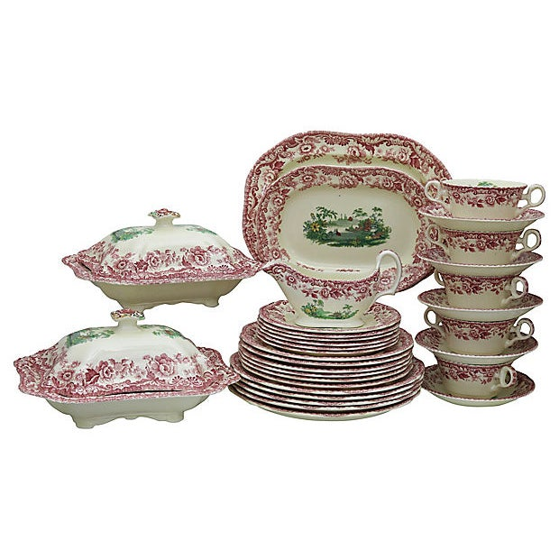 Green Antique Copeland Spode Holiday Dinner Set For Sale - Image 8 of 8