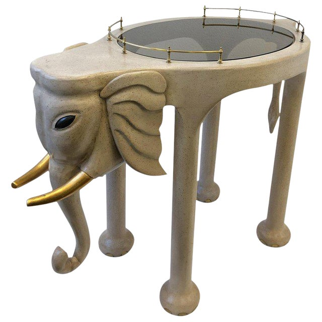 1980s Carved Wood Elephant Bar Cart by Marge Carson For Sale