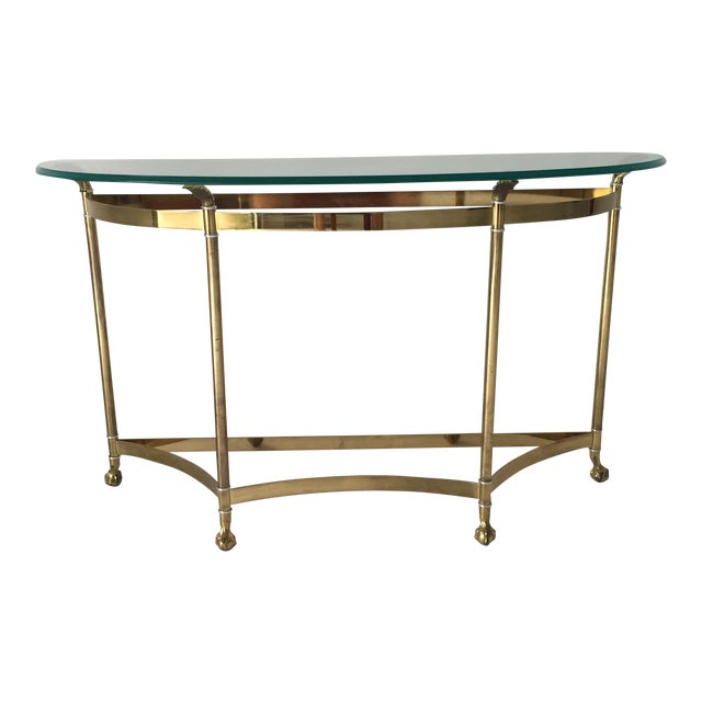 Vintage Hollywood Regency Brass / Glass Demilune Hall or Sofa Table ...