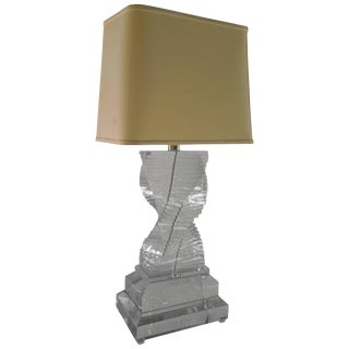 Monumental 1970s Stacked Lucite Table Lamp For Sale