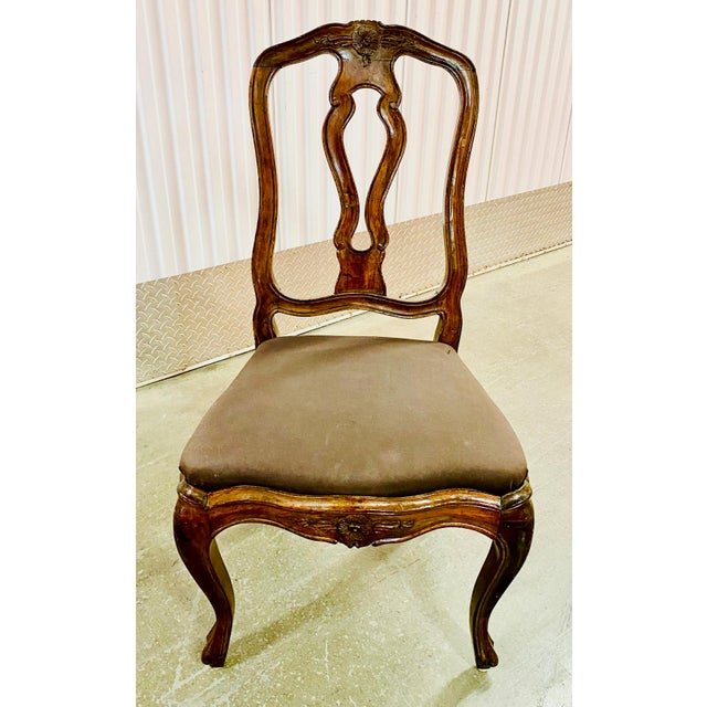 Gorgeous set of Neoclassical French dining chairs. Wonderful patina and carved details. Will be sublime with an upholstery...