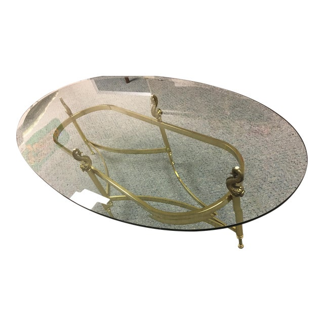 Glass And Solid Brass Oval Coffee Table