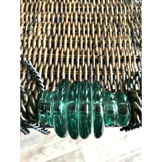 1990s Neiman Marcus Folding Metal & Rattan Tray Table For Sale - Image 5 of 6