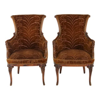 Pair of French Art Nouveau Armchairs, Two-Tone Cognac Colored Embroidered Velvet For Sale
