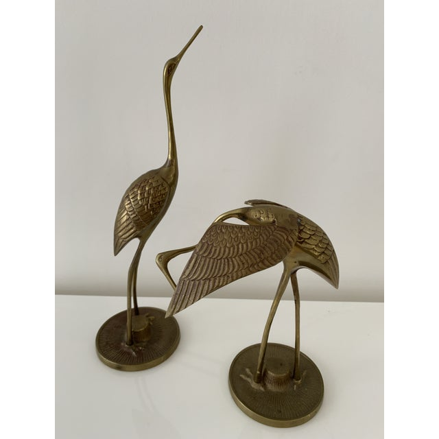 Mid 20th Century Brass Crane Figurines - a Pair For Sale - Image 5 of 10