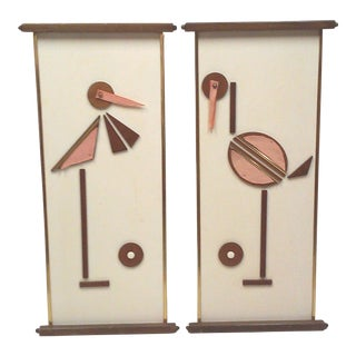 Mid-Century Mixed Media Bird Wall Hangings - A Pair