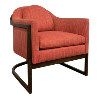 Mid-Century Modern Upholstered Barrel Club Chair For Sale