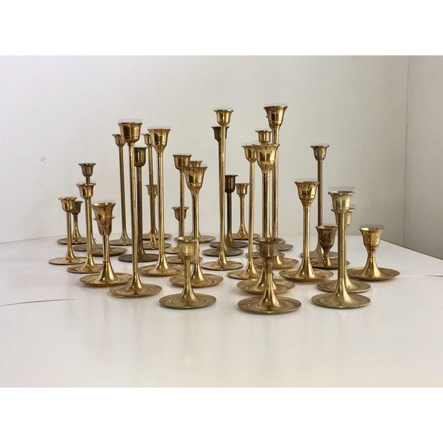 Mid-Century Brass Tulip Candlesticks - Set of 34 - Image 2 of 8