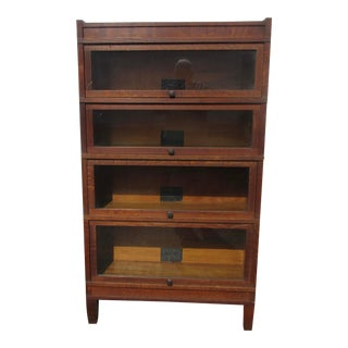 Early 20th Century Quartered Oak Art Mission Sectional Bookcase by Globe Wernicke For Sale