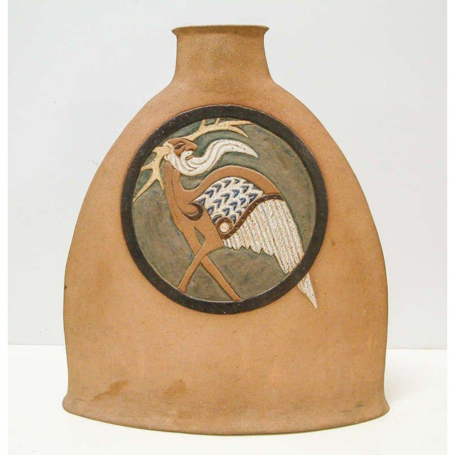 United States 1977 A very large Nittenegger stoneware vase with figurative motifs on two sides. The work is incised on the...
