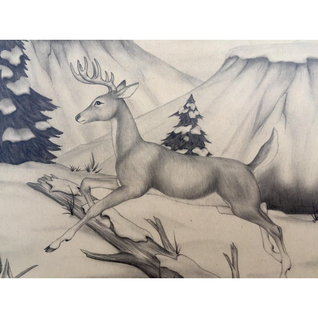 Deer in Winter Mountain Vintage Drawing by M. Keoke - Image 3 of 6