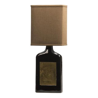 Glazed Ceramic Bottle, Etched Brass Panels, France c.1960, Custom Lamp and Shade For Sale