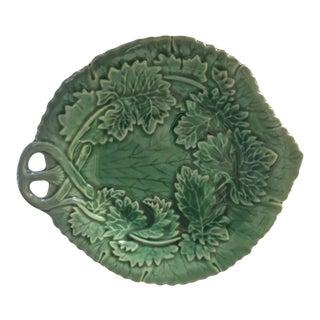 Antique Majolica Leaf and Vine Plate For Sale