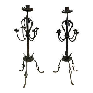 Pair of Italian Baroque Wrought Iron Five Light Candelabra For Sale