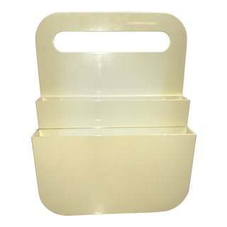 1970's Vintage Carrier Giotto Stoppino Style Mod White Plastic Magazine Holder For Sale