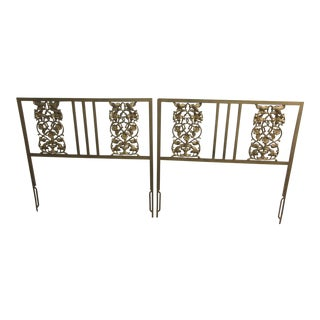 Twin Gold Gilt Iron Headboards - A Pair