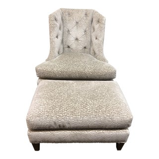 Moderne Wing Chair + Ottoman, by Baker Furniture For Sale